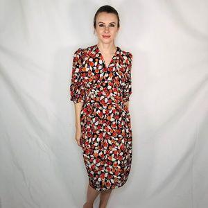 Vintage Floral 80s do 40s Style Knee Dress 0607